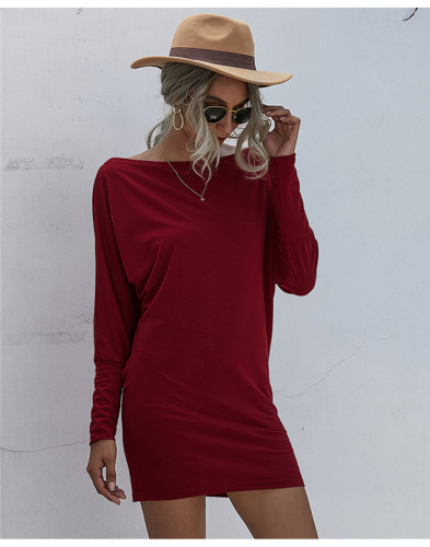 Red Solid color mid-waist sexy bag hip dress