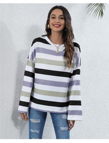 Purple Round neck striped multicolor digital printing casual T-shirt