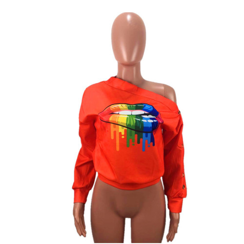 Orange One line collar slant shoulder button sleeve Street casual sweater
