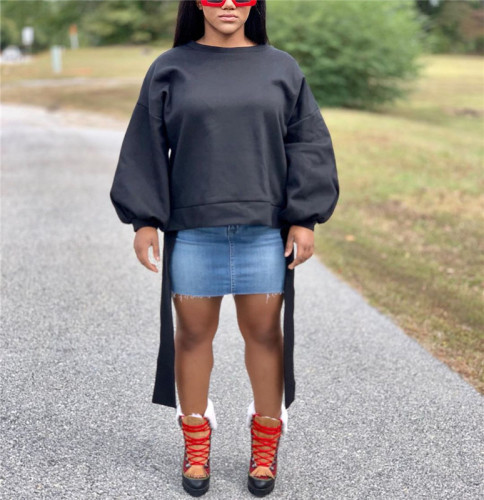 Black Casual top with loose lantern sleeves and lace up