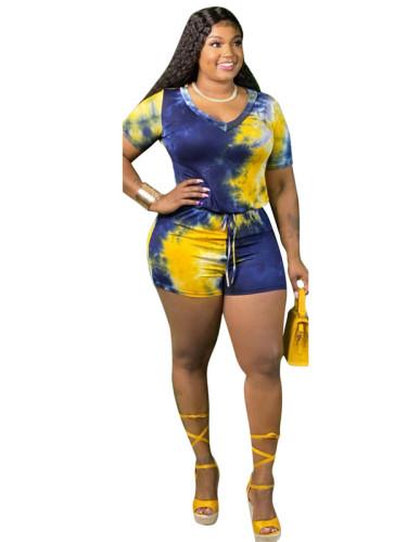 Yellow Tie dyed zipper Jumpsuit