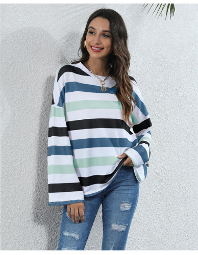 Blue Round neck striped multicolor digital printing casual T-shirt