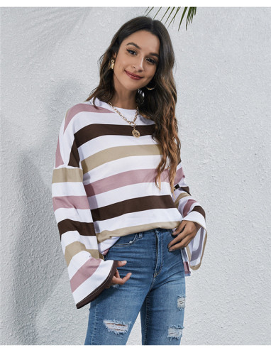 Pink Round neck striped multicolor digital printing casual T-shirt