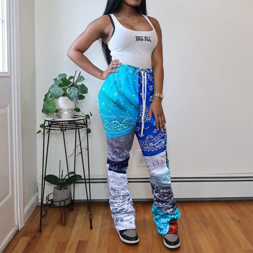 Blue Printed national custom stack casual pants