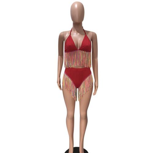 Red Colorful tassel bikini two piece swimsuit