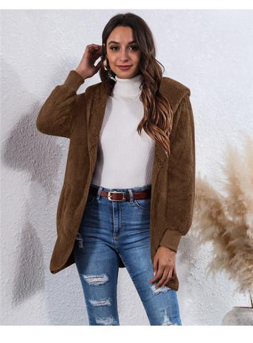 Dark Brown Wear an anti-fur coat on both sides