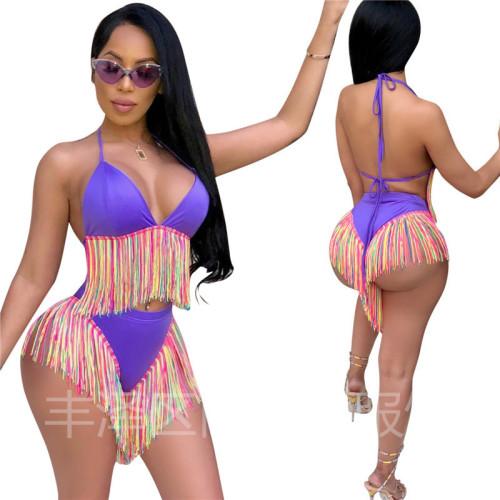 Purple Colorful tassel bikini two piece swimsuit