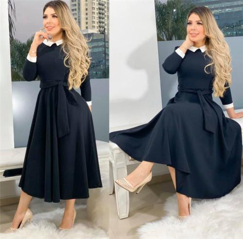 Black Stitched zipper slim cute dress