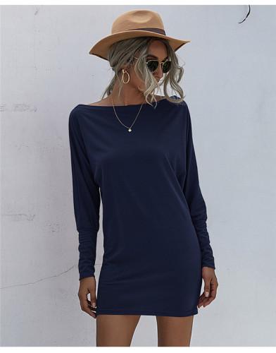 Blue Solid color mid-waist sexy bag hip dress