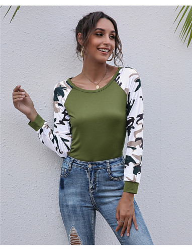 Green Long-sleeved patchwork printed top