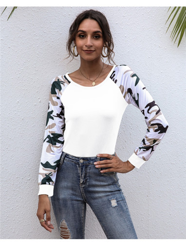 White Long-sleeved patchwork printed top