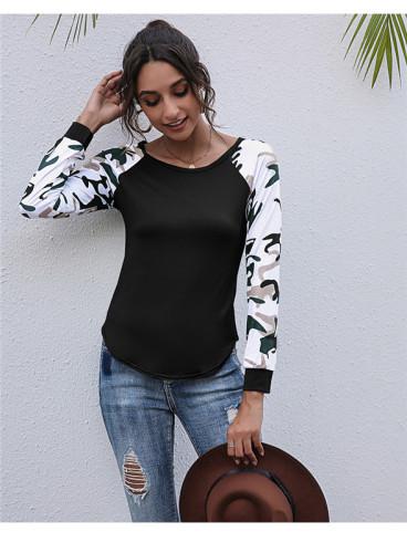 Black Long-sleeved patchwork printed top
