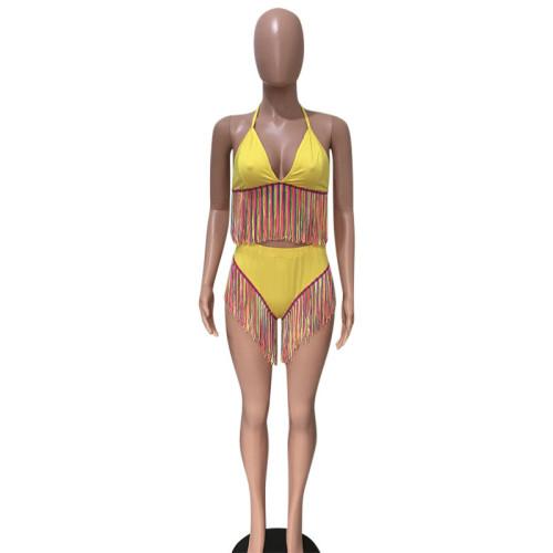Yellow Colorful tassel bikini two piece swimsuit