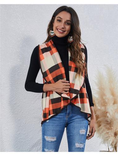 Orange Fashion Irregular Check Cardigan Vest Jacket