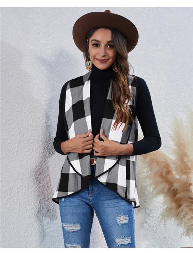Black Fashion Irregular Check Cardigan Vest Jacket