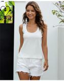 White Sleeveless top vest top
