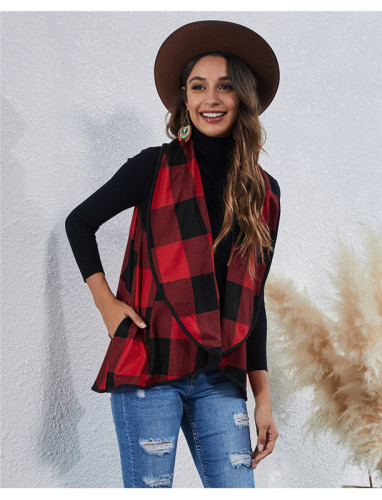 Red Fashion Irregular Check Cardigan Vest Jacket