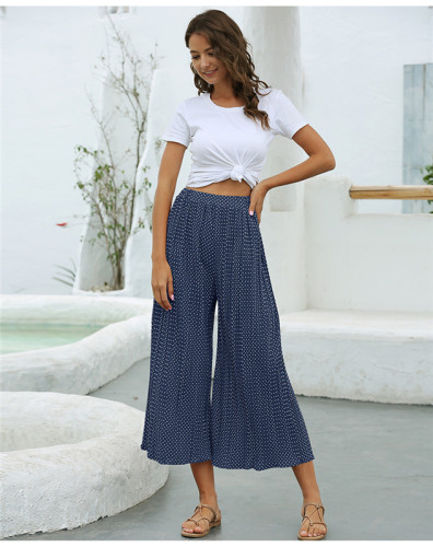 Blue Fashion polka dot pleated casual cropped wide-leg pants