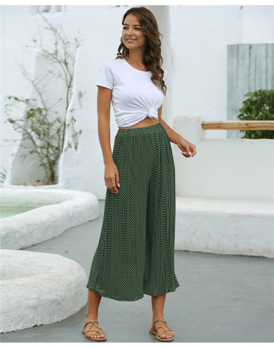 Green Fashion polka dot pleated casual cropped wide-leg pants
