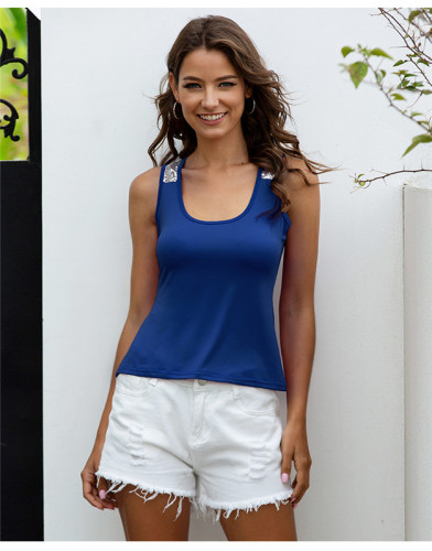 Blue Sleeveless top vest top