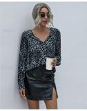 Light Blue V-neck fashion leopard print loose chiffon shirt