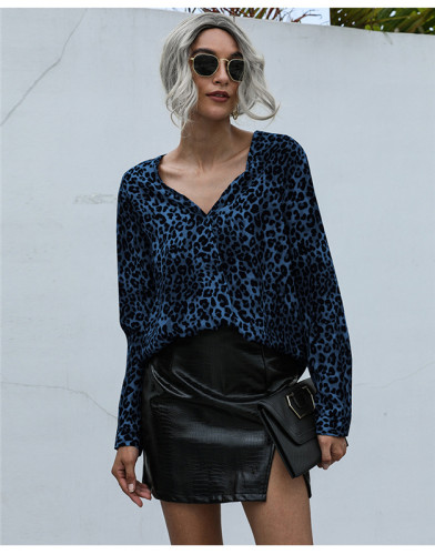 Blue V-neck fashion leopard print loose chiffon shirt