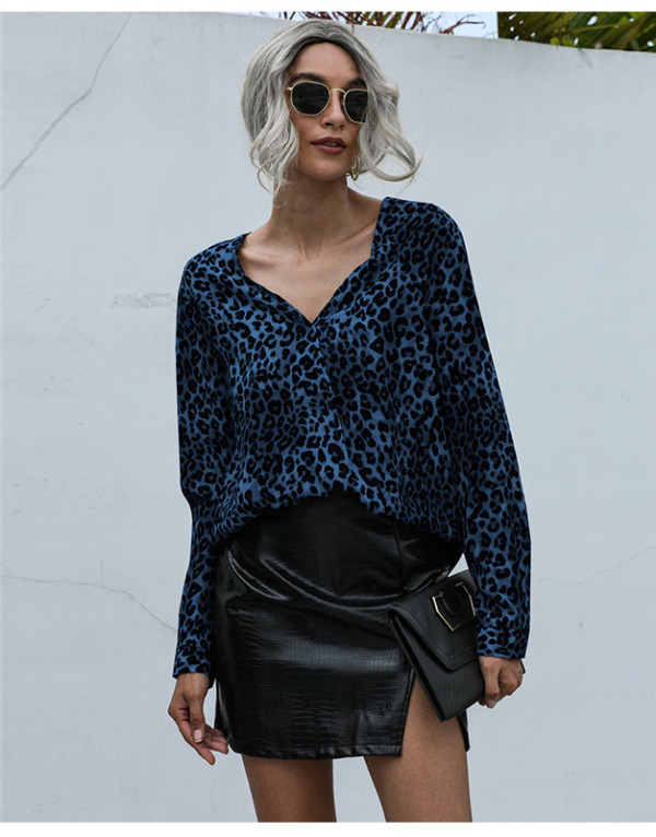 Blue V-neck fashion leopard print loose chiffon shirt