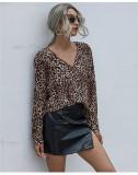V-neck fashion leopard print loose chiffon shirt