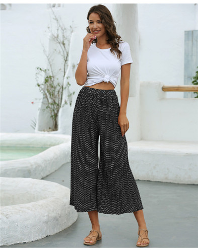 Black Fashion polka dot pleated casual cropped wide-leg pants