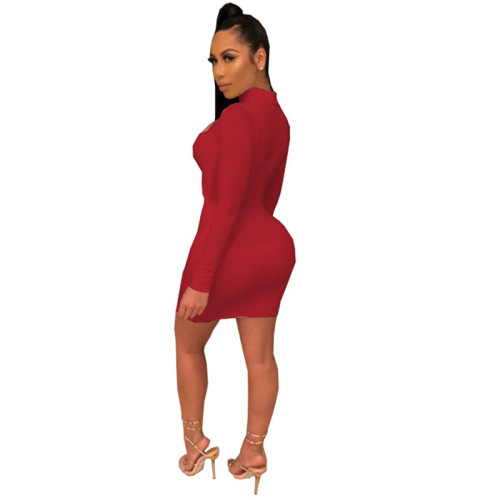 Red Sexy fashion classic solid dress