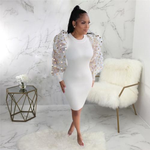 White Sexy fashion Lantern Sleeve slim dress