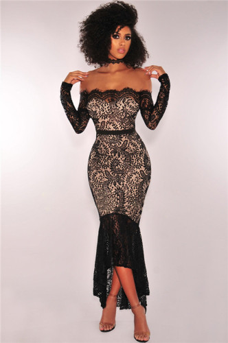 Black Sexy off shoulder night show one neck lace bra slim long sleeve dress