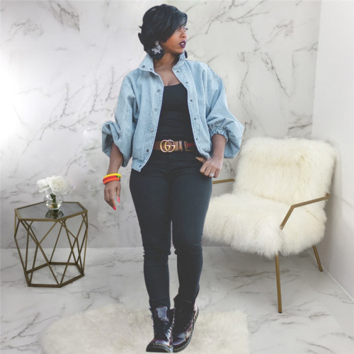 Blue Sexy fashion long sleeve denim jacket