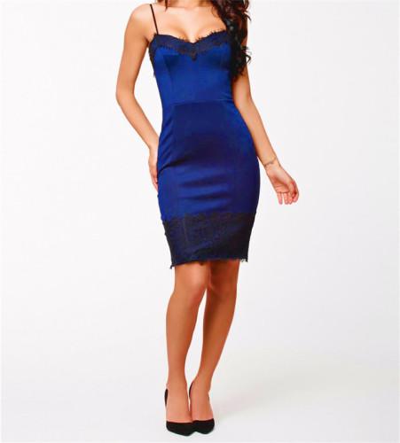 Dark Blue Lace dress strap sexy slim dress