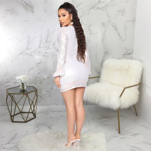 Silvery Sexy fashion slim V-neck dress
