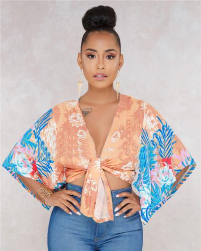 Orange Fashionable and popular bat sleeve jacket with bandage on the chest