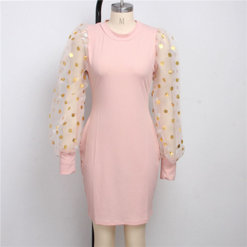Pink Sexy fashion Lantern Sleeve slim dress