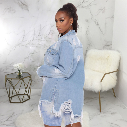 Light Blue Casual fashion women's jeans jacket