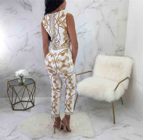 White Two piece set of European and American fashion