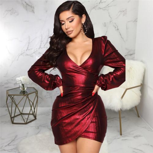 Claret Sexy fashion slim V-neck dress