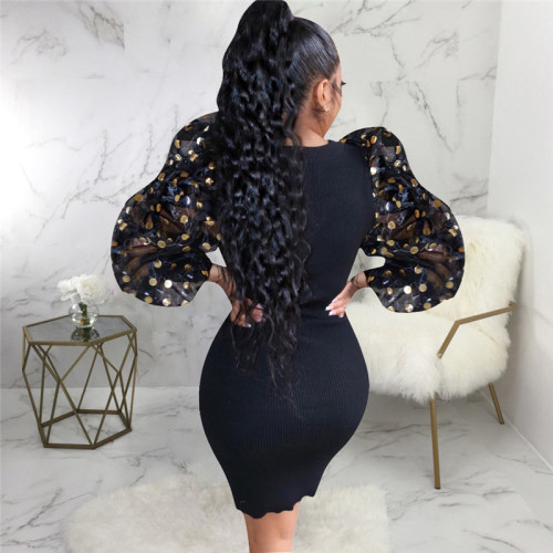 Black Sexy fashion Lantern Sleeve slim dress
