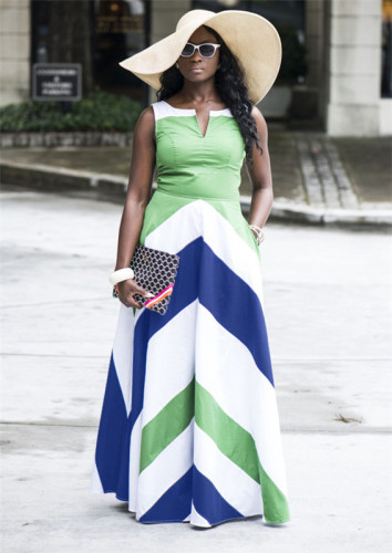 Green Sexy and cool sleeveless striped dress