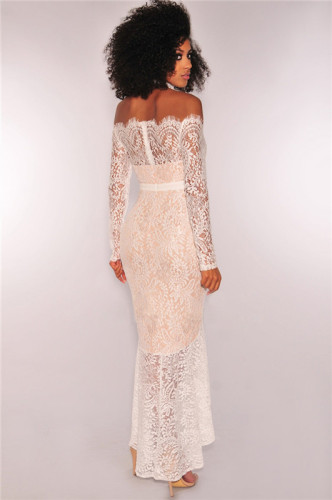 White Sexy off shoulder night show one neck lace bra slim long sleeve dress