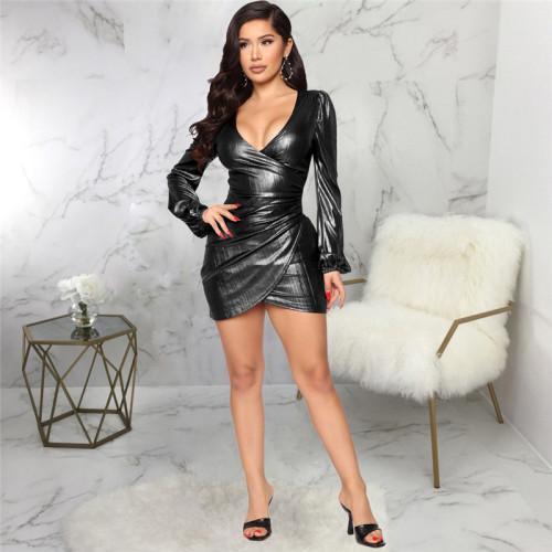 Black Sexy fashion slim V-neck dress