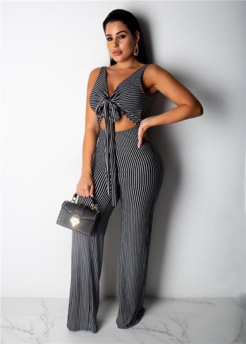 Black Sexy fashion dynamic striped Jumpsuit
