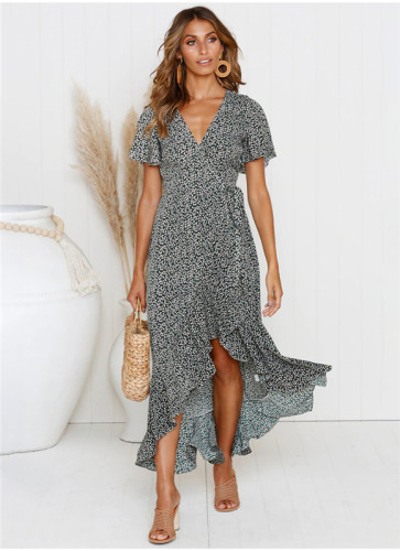 Black Printed lace irregular dress