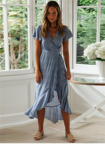 Blue Printed lace irregular dress