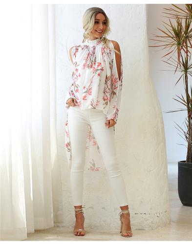 White Round neck print raglan sleeve sun protection chiffon shirt