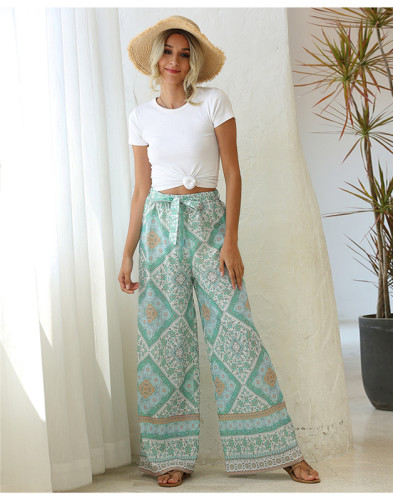 Green Loose printed wide leg trousers belt trousers