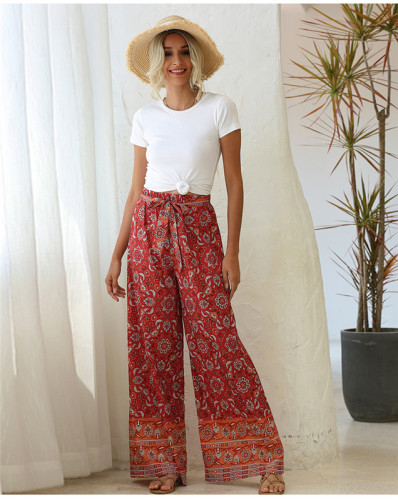 Red Loose printed wide leg trousers belt trousers